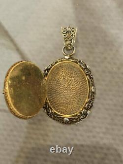 Superbe Pendentif Superbe Antique Chinois D'argent De Filigrane Carnelien De Médaillon