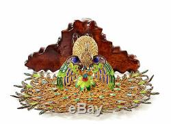 Support En Bois De Paon Oiseau En Filigrane Émail Argent Massif Doré Vintage Chinois