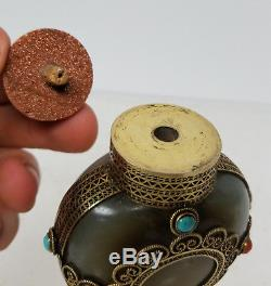 Tabatière En Jade Antique En Néphrite De Chine À Monture D'argent, Coral