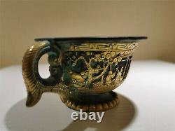 Tasse Incrustée Chinoise D'or Incrusté De Chiffre&chevaux Veines Dynastie Tasse