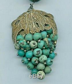 Tone Antique Chinois D'exportation Or Argent Filigrane Corail Turquoise Collier 16