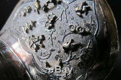 Trépied Antique En Argent Sterling Chinois Chueh Jue Tasse Avec Le Bord Doré