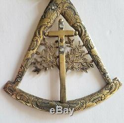 Très Rare Antique 19ème Chinois D'exportation Gilt Argent Et Diamant Médaille Maçonnique