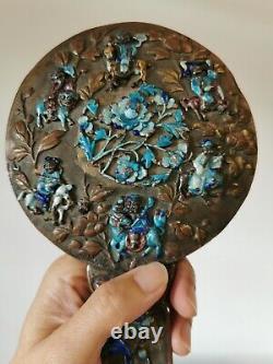 Très Rare Chinese Export Miroir En Bronze Doré Avec Figurine Imortal En Émail Argenté