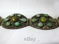 Un Beau Chinois Cabochon Jade Gilded & Silvered Panneau Bracelet