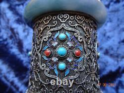 Un Chinois Gilt & Silver Filagree Boîte Cylindrique Émail & Pierres Semi-précieuses