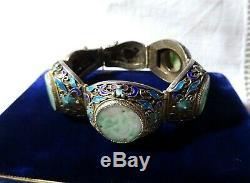 Un Magnifique Sculpté Jade Émail Argent Doré Filigrane Panneau Bracelet Chinois