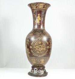 Vase Ancien En Bois Peint Chinois, Chinoiserie, Doré Et Argenté, V. 1840