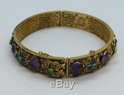 Vermeil Améthyste Émail Filigrane Bracelet En Argent Sterling Chinois Vintage Or