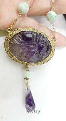 Vieille Chaîne En Argent De Plaque D'or Et Perles Chinoises Antiques De Jade Avec L'améthyste Découpé O