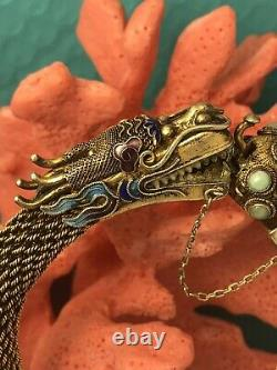 Vieille Exportation Chinoise Or Gilted Argent Émail Jade Dragon Bangle Jl 070820cbh@