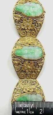 Vieille Plaque D'or Chinoise Filigrane D'argent - Jade Sculpté Guanyin Bracelet W Boîte