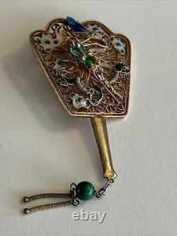 Vieilles Années 1940 Gold Wash Sterling Silver Filigree Enamel Fan Brooch Chinois