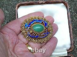 Vieux Bijouterie Chinois Argent Gilt Filigre Enamel Dragon Jade Broch/pin