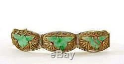 Vieux Bracelet Chinois En Or En Argent Sterling Doré Filigrane Jade Jadéite Sculpté De Fleurs