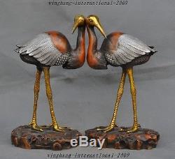 Vieux Chinois Argent Longévité En Bronze Doré Lucky Bird Grue À Couronne Rouge Hok Statue