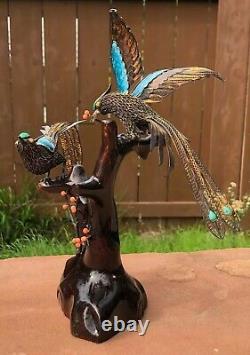 Vieux Chinois En Argent Doré En Émail Cloisonné Oiseaux D'amour Corail Turquoise Bois Statue