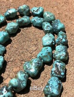 Vieux Chinois En Argent Doré Spiderweb Turquoise Knuckle Collier Perle 25.5