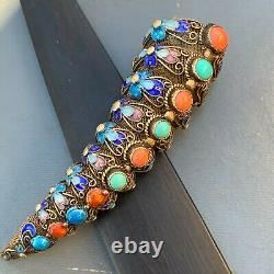 Vieux Chinois Fingernail Guard Or Gilt Argent Filigrane Coral Pin Brooch