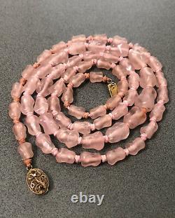 Vieux Chinois Gilt Silver Main Sculpté Rose Quartz Grand Collier De Perles 31.5