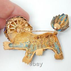 Vieux Lion Chinois Ou Chien De Foo Dragon Or Sur Argent Émail Coral Vtg Pin Brooch