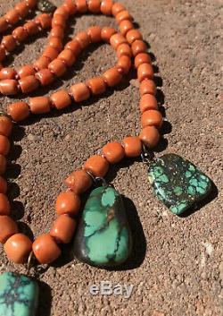Vieux Saumon Chinois Rouge Naturel Corail Et Turquoise Gilt Argent Dangle Collier 26