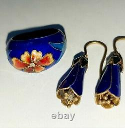 Vintage Antique Chinois Export Gilt Silver Enamel Réglable Ring & Boucles D'oreilles