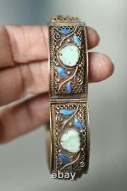 Vintage Antique Chinois Sterling Argent Gilt Filigre Jade & Enamel Bracelet