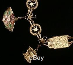 Vintage Argent Chinois, Doré, Émail Cloisonné Bracelet À Breloques 3d