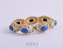 Vintage Argent Sterling Chinois / Plaqué Or / Lapis Lazuli Bracelet Manchette Filigrané