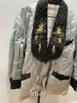 Vintage Asian Chinese Silver & Black Silk Embroidered Jacket With Gold Dragons Déc