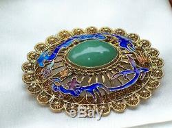 Vintage Bijoux Chinois Vermeil Filigrane Émail Dragon Jade Broche / Pin