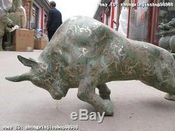 Vintage Bronze Chinois Argent Doré Sculpté Statue Ox Bull