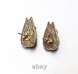 Vintage Chinene Export Amethyst Enamel Argent Gilt Boucles D'oreilles Filigrane 1960 Posts
