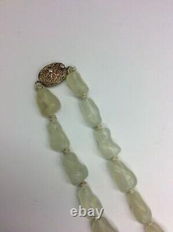 Vintage Chinene Export Pale Jade Collier Collier Argent Gilded Filipree Fermoir