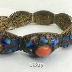 Vintage Chinese Art Déco Export Vermeil Émail Filigrane Bracelet Corail