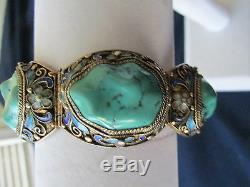 Vintage Chinese Export Argent Filigrane Turquoise Cabochon Bracelet En Émail