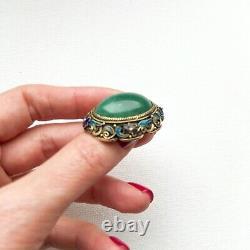 Vintage Chinese Export Aventurine & Cloisonne Filigrane Or Lavé Broche D'argent