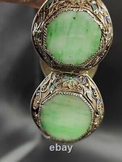 Vintage Chinese Export Cloisonne Carved Jade Jadite Gilt Silver Bracelet