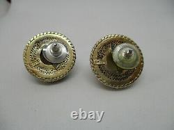 Vintage Chinese Export Gilt Silver Fine Filigree Enamel Smoky Quartz Boucles D'oreilles