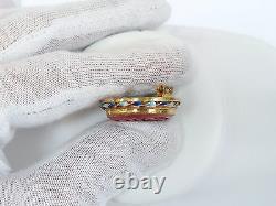 Vintage Chinese Export Gold Wash Argent Sculpté Cinnabar Épingled Brooch Pin