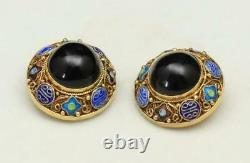 Vintage Chinese Export Gold Wash Boucles D'oreilles En Argent Émail Avec Le Centre Onyx Clip On