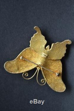 Vintage Chinese Export Papillon Broche St Or Argent Wash Émail Améthystes