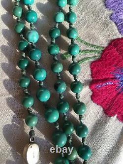 Vintage Chinese Export Perles Turquoise Collier Avec Boucle En Argent Doré