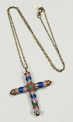Vintage Chinese Export Sterling Silver Gold Wash Enamel Turquoise Cross Collier