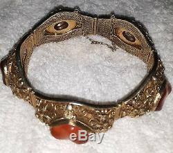 Vintage Chinois 7 Gilt Bracelet Avec Orange Cornaline Gemstones (5)