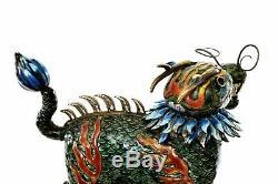 Vintage Chinois Argent Doré Massif Émail Qilin Dragon Head Beast 373 Gram