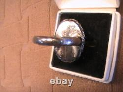 Vintage Chinois Argent Gilt Jade Jadeite Réglable Poison Ring Sodalite Bouddha