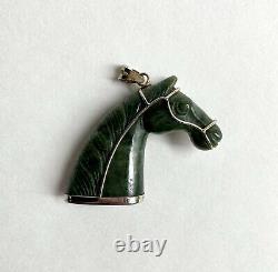 Vintage Chinois Argent Gilt Sculpté Néphrite Jade Cheval Pendentif Tête Zodiac Retro