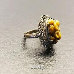 Vintage Chinois Argent Sculpté Tigres Eye Gilt Gold Wash Ajustable Poison Ring